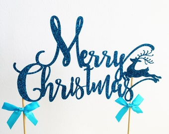 Merry Christmas Cake Topper, Happy Christmas, Christmas Reindeer, Xmas Cake Decoration, Glitter Topper, Cake Centrepiece, Party Supplies