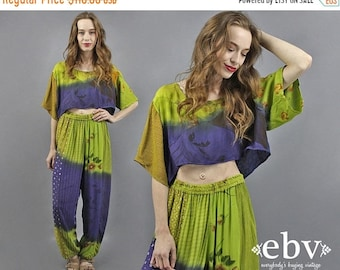 Deux pièces ensemble deux pièce tenue correspondant ensemble tenue Festival des années 90 Floral Crop Top + pantalon tenue S M L indien Top indien sarouel