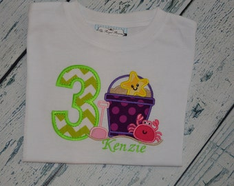 PERSONALIZED Girls Beach Pool Party Birthday Shirt