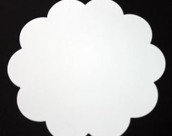 7.5 inch Scalloped Cardstock Circles with Optional Holes    Card stock Buntings Supply   Scalloped Circles   Large Scalloped Card   25/set