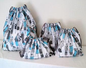 REDUCED! Lady in Blue Print Set of 4 Cotton Travel Bags, Laundry Bag, Lingerie Bag, Utility Bag, Shoe Bag or Sock Bag.