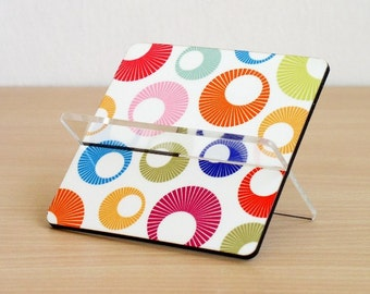 Business card holder, desk card holder, desk accessories ,desk organizer, office decor, home decor, coworker boss gift, rainbow circles