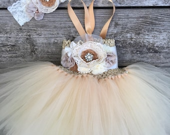 Rustic champagne flower girl dress flower girl tutu dress widding flower girl dress come with headband .all kids sizes