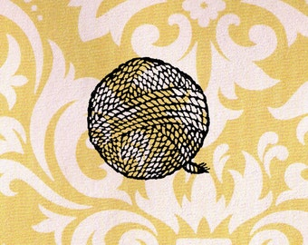 Yarn Ball Stamp: Wood Mounted Rubber Stamp