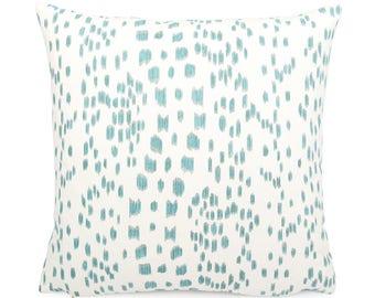 Brunschwig Fils Les Touches,  Aqua and White Pillow Cover, Square Eurosham or Lumbar Size, Leopard Print, Modern Polka Dot Cushion Cover
