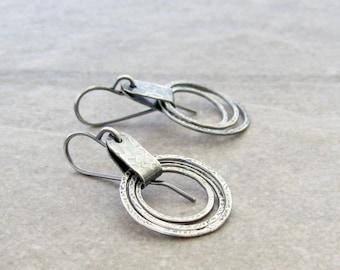metalwork dangle earrings, oxidized fine and sterling silver earrings, modern rings earrings