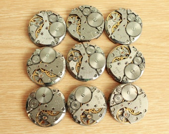 """watch movements / lot of 9  (1 """") / jewelry supplies / Steampunk supplies /  Watch movements for art / Vintage / Steampunk Findings"""