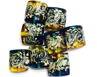 10 pieces 15mm Blue and Gold Lampwork Glass Square Beads