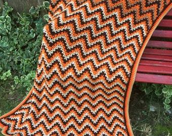 Vintage 1970s Era Chevron Pattern Fall Colors Crochet Afghan or Lap Throw