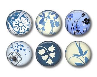 Blue Floral pinback button badges or fridge magnets, fridge magnet set