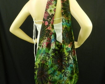 Tie Dye Bag Purse Sling Messenger Crossbody Buddha Hobo Hippie Celebrity OOAK Top Zip VI-2