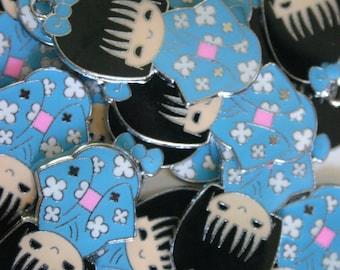 Baby Blue Kimono Kokeshi Doll - Japanese doll metal charms (2)