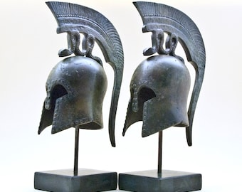 Ancient Greek Helmet with Spiraling Serpent Crest, Bronze Metal Sculpture, Ancient Greece Military Helmet, Collectible Art, Museum Replica