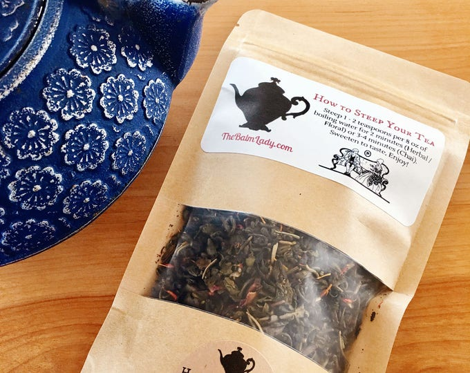 Secret of the Immortals - Gun Powder Green Tea - Rosemary, Sage, Roses, Safflower, Lemon - Wellness Anti- Aging Hand Blended Tea - 2 oz