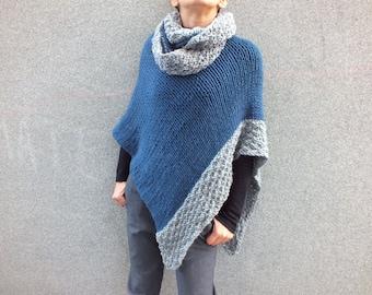 Poncho Handknit wool poncho women poncho knit poncho short poncho Boho inspired Asymetrical