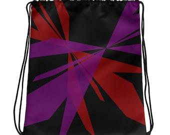 Drawstring Bag, Black, Purple and Red