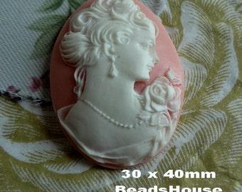 20%off 57-00-CM  2pcs Portrait Oval Cameo Pendant  (30 x 40 mm) - White on Pink