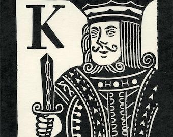K is for King linocut