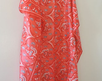 Hand Woven Silk Scarf – Pink Red Aqua White - India