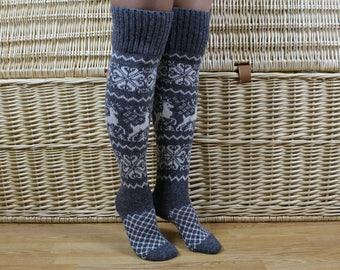 Knit wool knee high socks, Christmas knit long socks, Norwegian grey knee socks, Deer knee socks, Womens winter long socks, Christmas gift