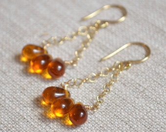 Topaz Earrings, Trapeze, Chandelier, Dark Gold Glass Teardrops, Wire Wrapped, Fall Autumn Accessory, Gold Jewelry, Under 30