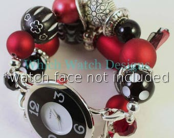 Crimson Tide.. Chunky Red, Black and White Interchangeable Beaded Watch Band