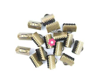 x 30 caps clasp claw 10x8mm bronze Ribbon (22)
