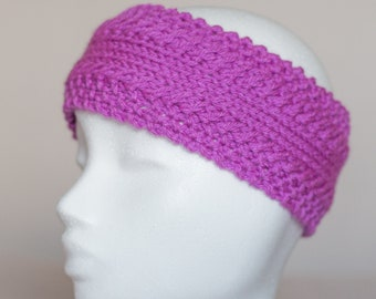 Pink/Purple Knitted Headband, Acrylic Ear Warmer, Hand Knit Headband for Women, Head Warmer, Gift for Her
