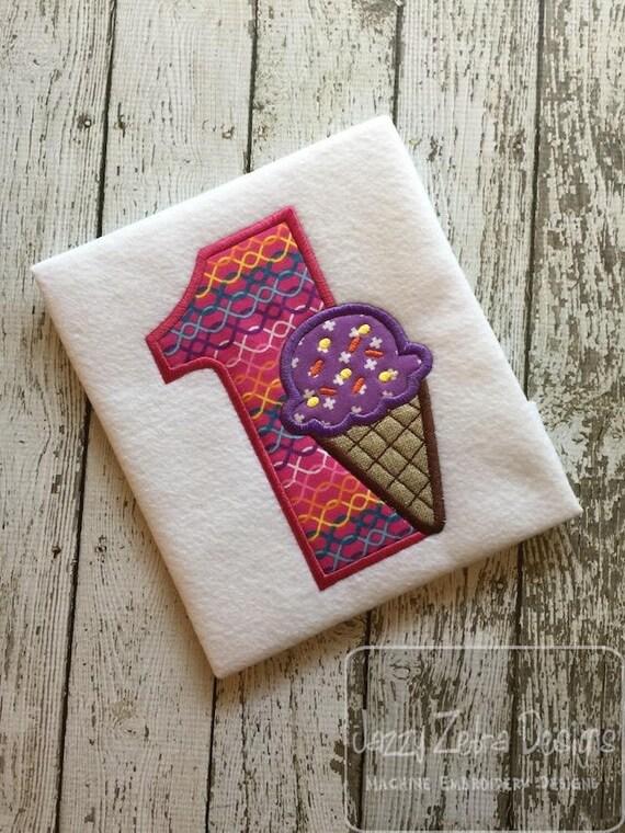 One ice cream cone appliqué embroidery design - ice cream appliqué design - 1st birthday appliqué design - first birthday appliqué design