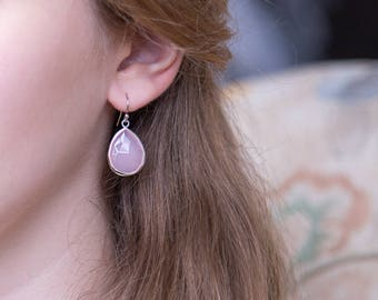 Pink and Silver Earrings, Bridesmaid Drop Earrings, Blush Pink Dangle Earrings, Bridesmaid Thank You Gift, Sterling Silver, Bridal Shower