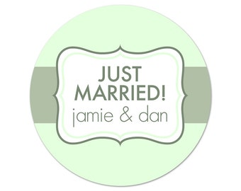 Personalized Wedding Stickers - Custom Labels - Wedding Favor Stickers - Modern Labels - Just Married Stickers - Choose Your Colors