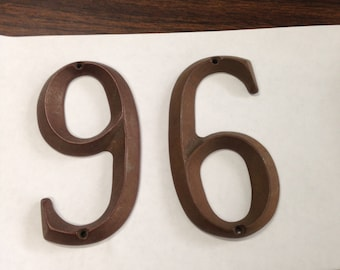 """Vintage Solid Cast Bronze Architechual (1) '6' or '9' 4"""" numbers"""