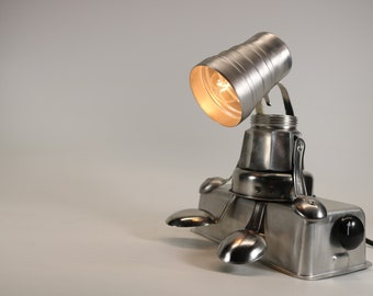 found object steampunk industrial lamp sculpture ASSEMBLAGE lamp