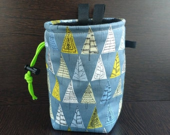 Rock climbing chalk bag Trees  Gift for climber Bright chalk bag Bouldering bag Funny chalk bag Original chalk bag