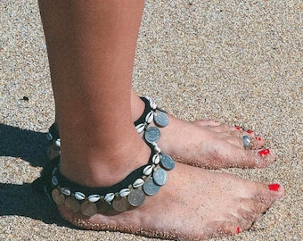 ankle bracelet made of shell and charm, jewelry ankle shells, Bohemian jewelry, Bohemian ankle bracelet, foot jewelry