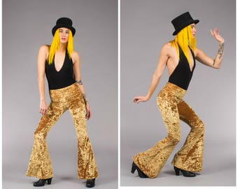 Marigold Dark Yellow Gold Crushed Velvet Slim Bells Flare Pants Flares Disco Burning Man Festival Bohemian Boho Chic Warrior Within Designs
