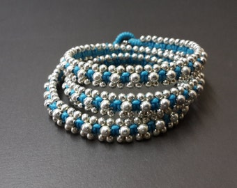 Blue Silver Wrap Bracelet