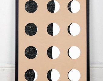 Moon art print, Phases of the moon, Moon poster, Wall print, Moon wall art, Modern art, Mid century modern, A3 poster, Wall art, Home decor