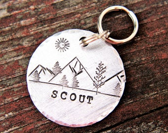 Pet ID with Mountains, Wilderness Tag, Dog ID Tag, Dog Tag with Trees, Hand stamped ID, Custom Dog Tag, Tag for Dog