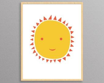 Nursery Print - Ms. Sun - a modern design print // 8.5x11 or 13x19 // nursery or kids room wall art // nursery decor