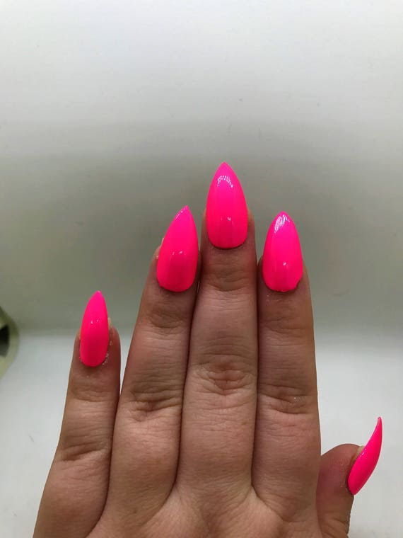 Hot Pink Fake Nails Neon Pink Nails Press On Glue On