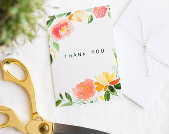 The Dainty Floral Thank You Stationary Card