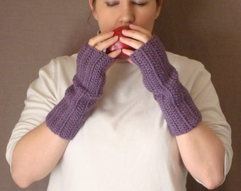 Dusty Purple Fingerless Gloves for Women - Crochet, Crocheted, Violet Wrist Warmers, Arm Warmers, Fingerless Gloves Mittens MADE TO ORDER