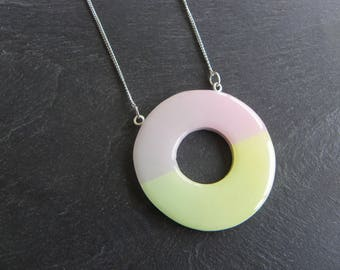 Necklace long necklace pendant polymer clay donut round ombre pastel pink yellow