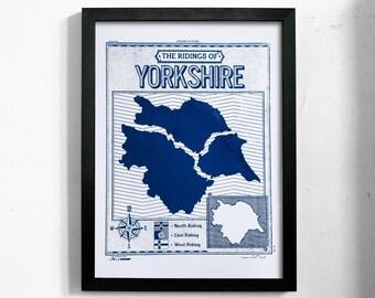 Ridings of Yorkshire   A3 Handmade Screenprint Poster