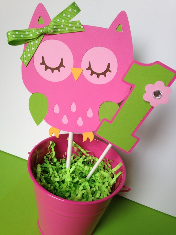 Owl Birthday Party Personalized Smash Cake Topper Pink and
