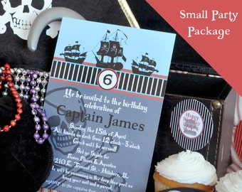 Pirate - Pirate Ship - Skull and Crossbone Pirate Party SMALL Printable Party Package