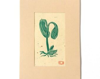 linocut - SEEDLING // 5x7 art print // printmaking // block print // nature art // green // miniature, small // plants // grow // garden