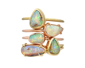 Opal Ring, Australian Opal Ring, Boulder Opal Ring, Opal Stacking Ring, Gold Opal Ring, October Birthstone, Mothers Ring, Opal, Ring, NIXIN