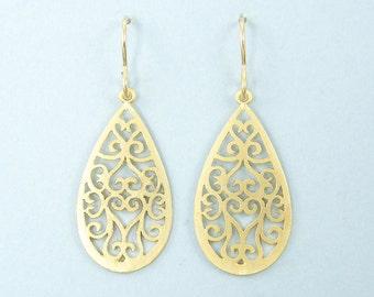 Gold Filigree Earrings, Gold Teardrop Earrings, Ornate Matte Gold Drop Earrings  EB1-17